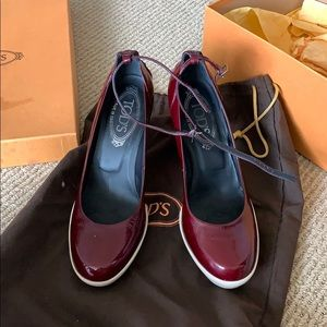 Tod's Burgundy Aspen Ankle Strap Heels Size 36
